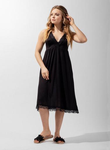 Katia & Bony Silver Line Lace Kadın Gecelik  Siyah